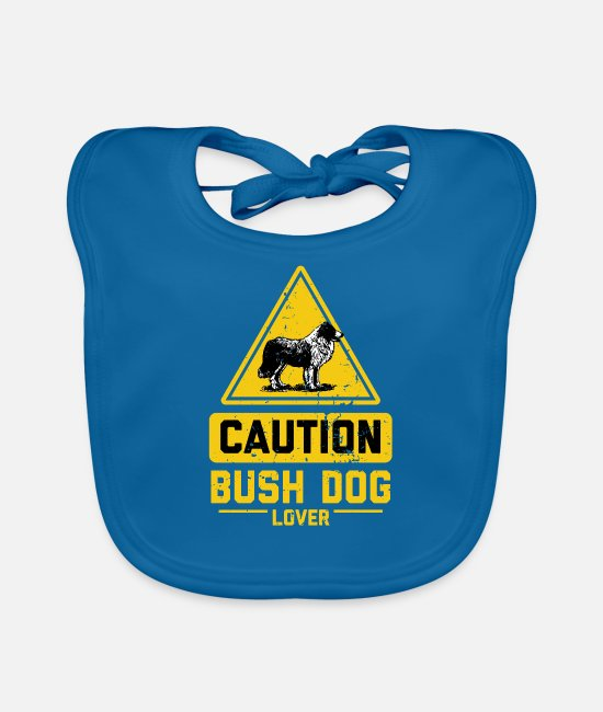 Pet Baby Clothes - CAUTION Bush Dog Lover - Baby Bib peacock-blue