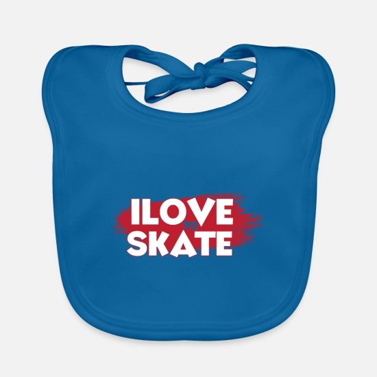Inline Skates Baby Clothes - inline skates, inline skate shirt, - Baby Bib peacock-blue
