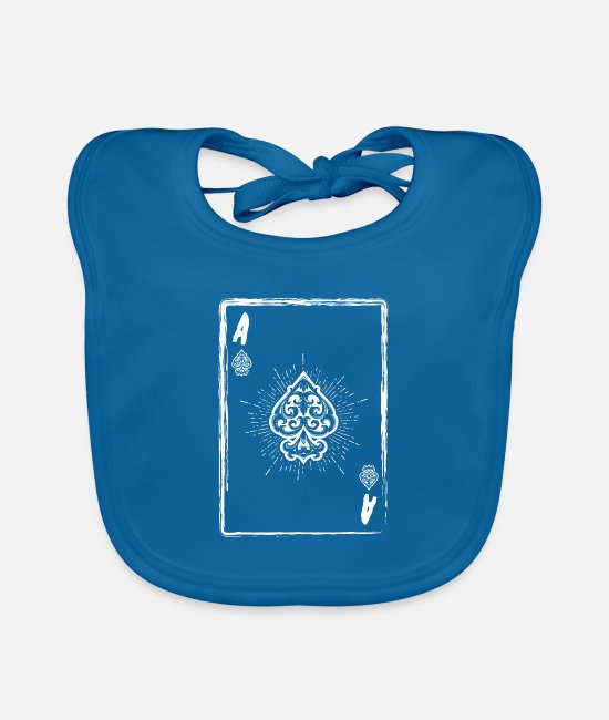 Vegas Baby Bibs - Ace of Spades Poker card player Halloween - Baby Bib peacock-blue