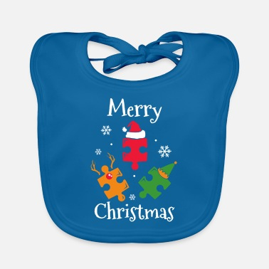 Granddaughter Puzzle Merry Xmas - Baby Bib
