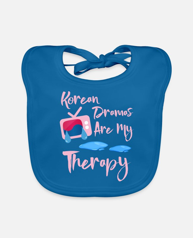 Pop Baby Bibs - Korean Dramas And Korean Artists Are My Therapy Fu - Baby Bib peacock-blue