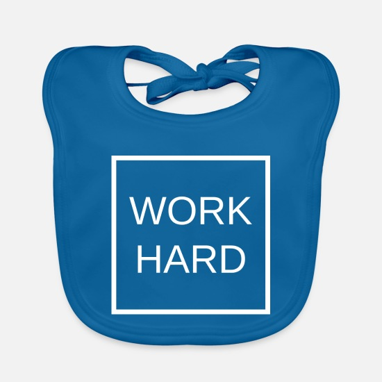 Business Baby Clothes - WORK HARD - Baby Bib peacock-blue