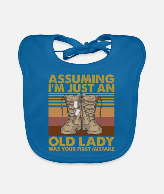 Just Fly Baby Bibs - I'm Just An Old Lady Was Your First Mistake Shirt - Baby Bib peacock-blue