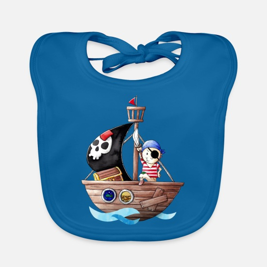 Pirate Baby Clothes - Little pirate with his ship - Baby Bib peacock-blue