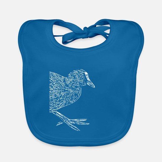 Birthday Baby Clothes - Quail coot water bird chicken bird gift - Baby Bib peacock-blue
