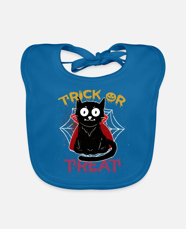 Cats And Dogs Collection Baby Bibs - Cat Vampire Trick or Treat Pumpkin Halloween Kid - Baby Bib peacock-blue