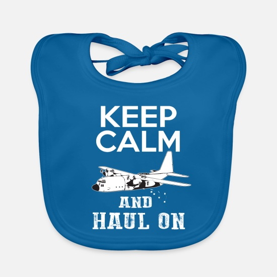 Aviation Baby Clothes - Keep Calm transport plane aviator gift - Baby Bib peacock-blue