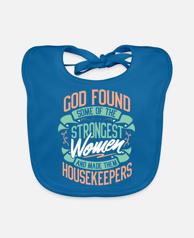 Occupation Baby Bibs - Housekeeper housewife house wife occupation gift - Baby Bib peacock-blue