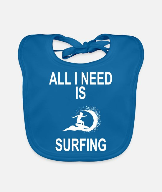 Waves Baby Clothes - EVERYTHING I NEED IS SURFING - Baby Bib peacock-blue