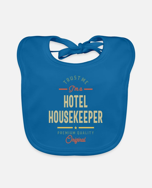 Occupation Baby Bibs - Hotel Housekeeper Job Title Gift - Baby Bib peacock-blue