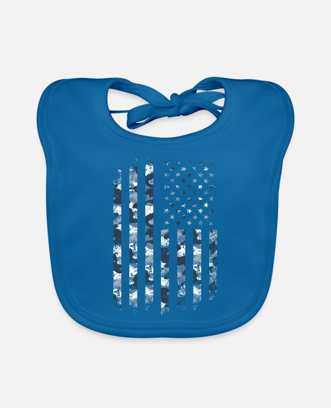 Father's Day Baby Bibs - Camo USA Flag American Military St - Baby Bib peacock-blue