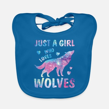 Girl Who Loves Wolves Watercolor Lover Cute Starry - Baby Bib
