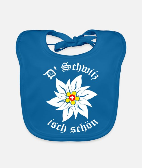 Birthday Baby Clothes - edelweiss - switzerland - Baby Bib peacock-blue