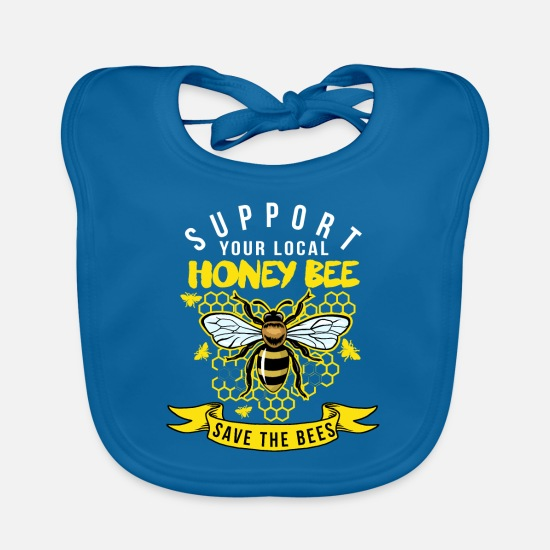 Gift Idea Baby Clothes - Buy Local Honey - Supports beekeepers - Baby Bib peacock-blue