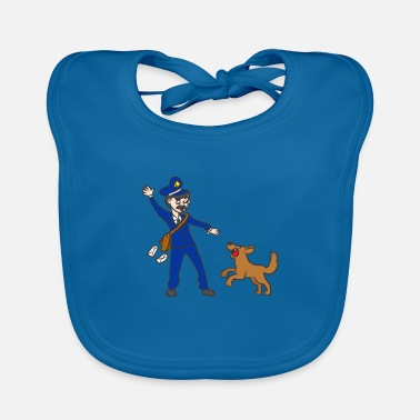 German Postal Service Postman postman postman dog scared funny - Baby Bib