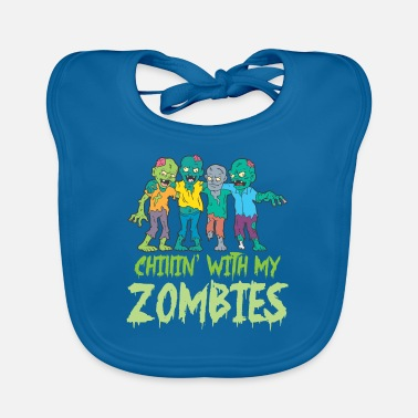 Boo Halloween Chillin' With My Zombies Fright Night - Baby Bib