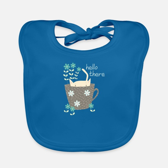 Soft Kitty Baby Clothes - Funny cat in cup Hello gift flowers - Baby Bib peacock-blue
