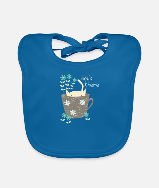 Greeting Baby Bibs - Funny cat in cup Hello gift flowers - Baby Bib peacock-blue