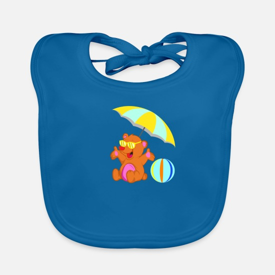 Sunglasses Baby Clothes - Beach bear summer - Baby Bib peacock-blue