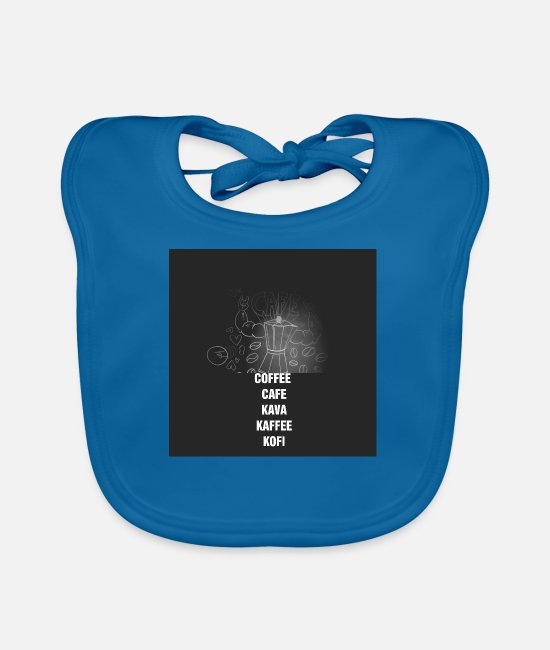 Bed Baby Clothes - Coffee - Cafe - Coffee - Kava - Kofi - Baby Bib peacock-blue