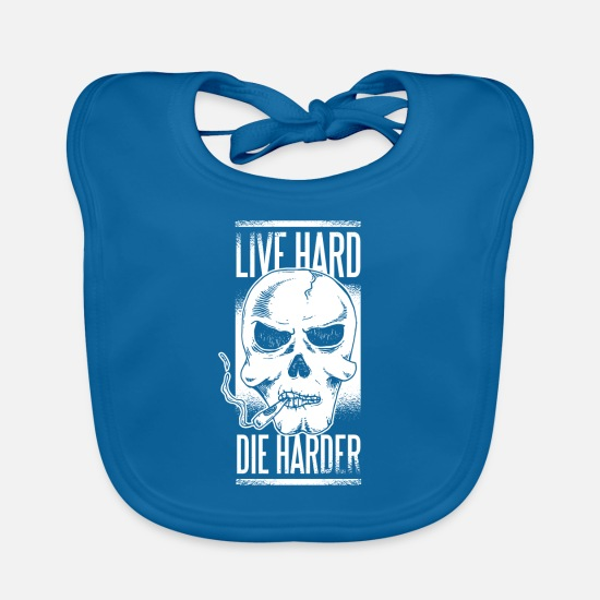 Hardstyle Baby Clothes - smoking skull live hard the hard the hard - Baby Bib peacock-blue
