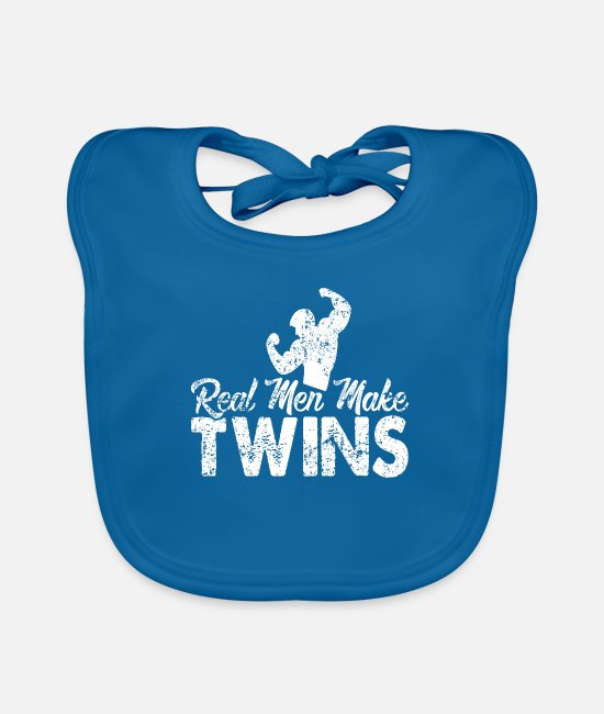 Companion Baby Bibs - Real men make twins gift idea - Baby Bib peacock-blue