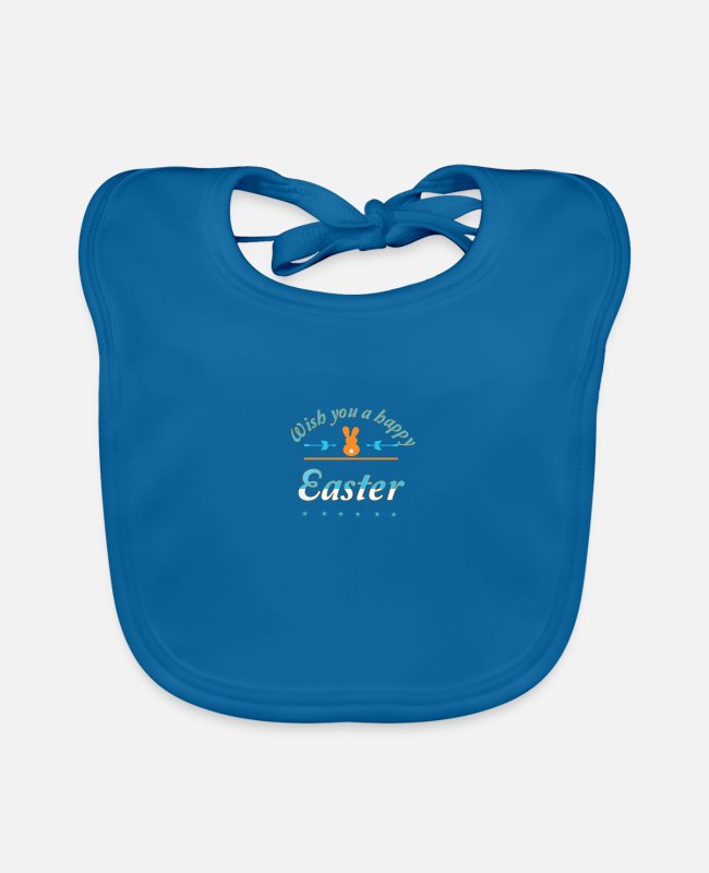 Easter Baby Bibs - Happy Easter - Baby Bib peacock-blue