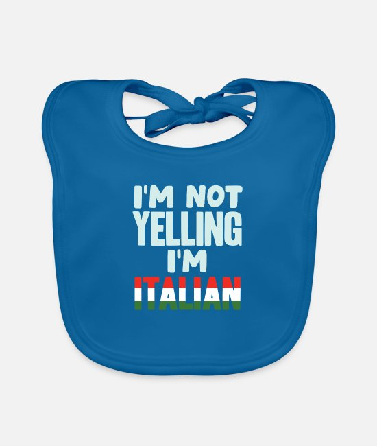 Quote Baby Bibs - Italy Italians - Baby Bib peacock-blue