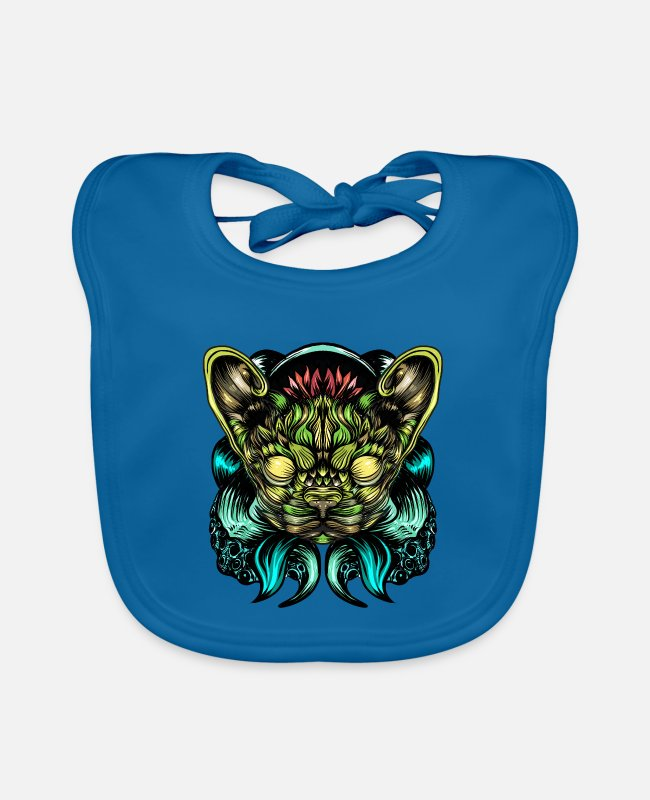 Panther Baby Bibs - Cat or dog? - Baby Bib peacock-blue