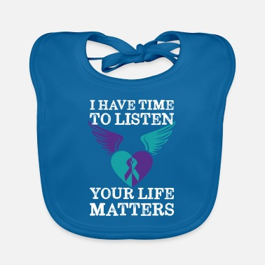 Heart Wings Ribbon Your Life Matters Mental Health Suicide Awareness - Baby Bib