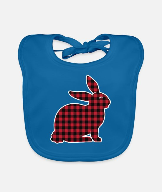 Easter Bunny Baby Clothes - Easter Plaid Bunny Rabbit Egg Hunting Sunday Gift - Baby Bib peacock-blue