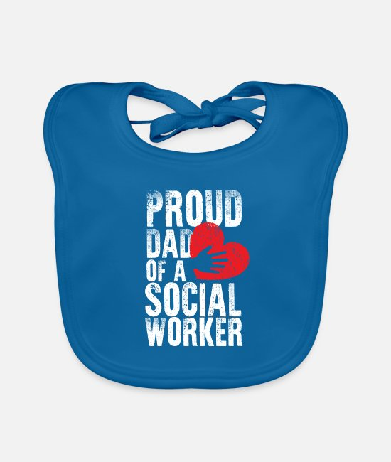 Father's Day Baby Bibs - School Social Worker Dad Mental Health - Baby Bib peacock-blue