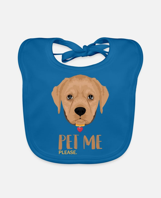 Stroke Baby Bibs - Pet me please dog / dogs - Baby Bib peacock-blue