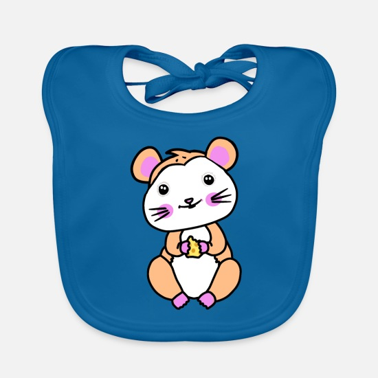 Pet Baby Clothes - Hamster rodent fantasy children hunger - Baby Bib peacock-blue