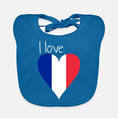 France flag gift french heart - Baby Bib