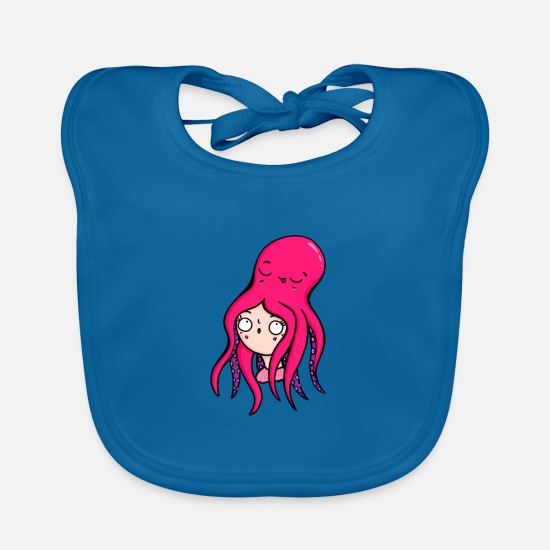 Wife Baby Clothes - Octopus octopus animal lover funny gift - Baby Bib peacock-blue