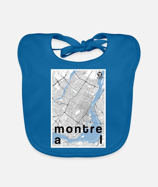 Hipster Baby Bibs - Montreal hipster city map black white - Baby Bib peacock-blue
