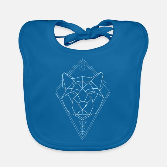 White Baby Clothes - Cat of Prey Geometry white KreativLoftWuppertal - Baby Bib peacock-blue