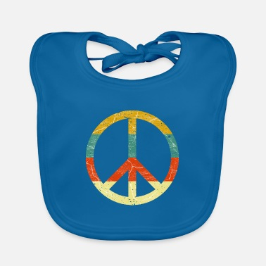 Peace Sign Peace sign retro colors vintage grunge look - Baby Bib