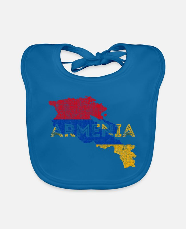 Distressed Baby Bibs - Armenia Map Shape and Flag - Baby Bib peacock-blue