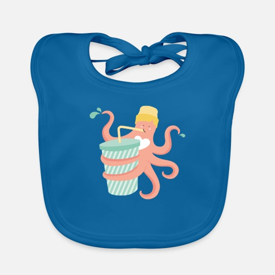 Summer Baby Clothes - THIRSTY OCTUPUS 2.0 - Baby Bib peacock-blue
