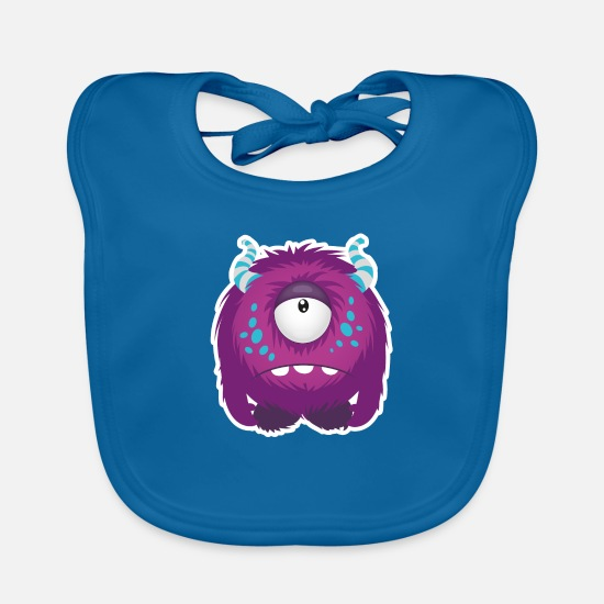 Horror Baby Clothes - Sweet little sad Monster - Baby Bib peacock-blue
