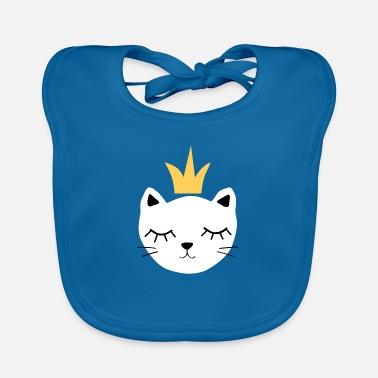 White cat with crown - Baby Bib