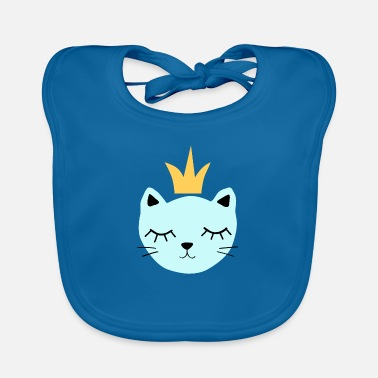 Blue cat with crown - Baby Bib