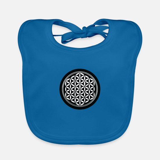 Age Baby Clothes - flower of Life - Baby Bib peacock-blue