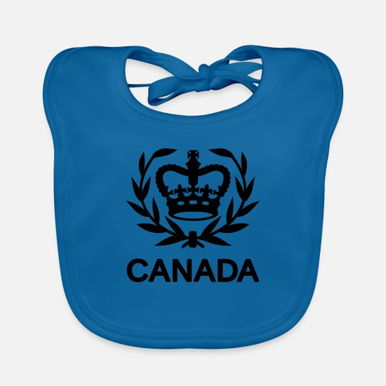 Canadian Armed Forces Baby Clothes - Master Warrant Officer CANADA Army, Mision Militar - Baby Bib peacock-blue