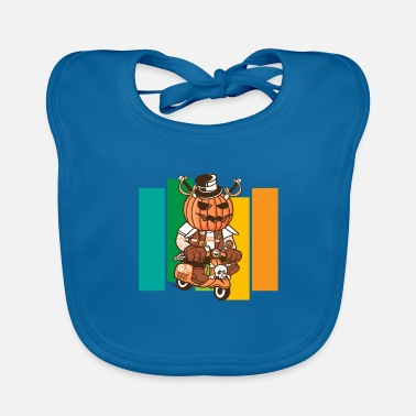 Trick Or Treat Halloween pumpkin moped moped scooter gift - Baby Bib