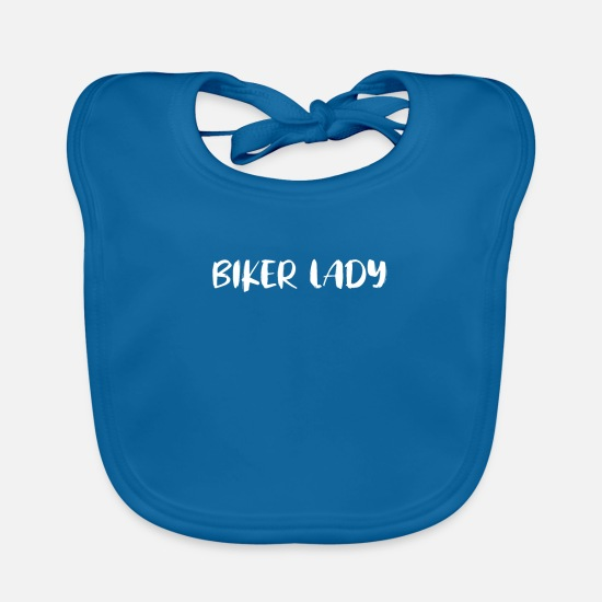 Motorcycle Baby Clothes - Biker lady - Baby Bib peacock-blue