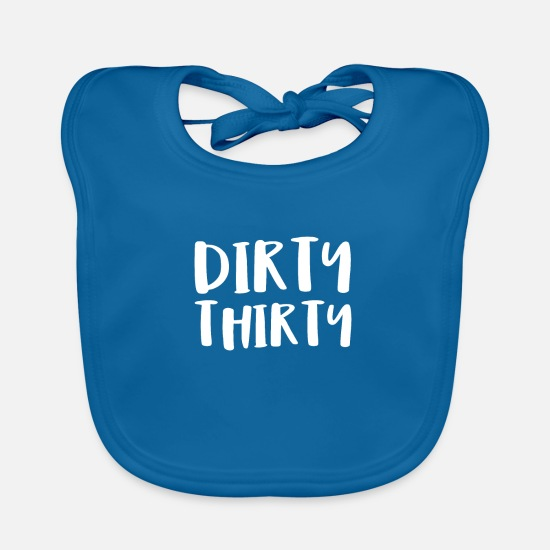 Birthday Baby Clothes - Dirty Thirty - Baby Bib peacock-blue