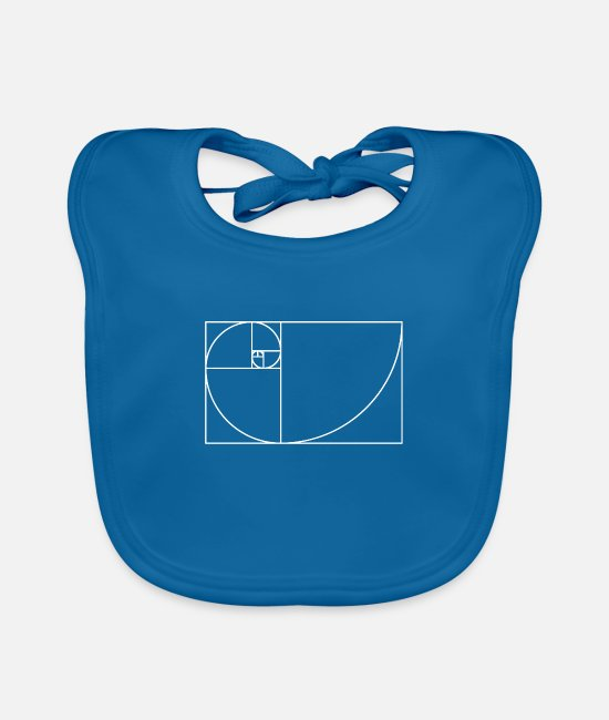 Maths Baby Bibs - Fibonacci spiral - golden section in white - Baby Bib peacock-blue